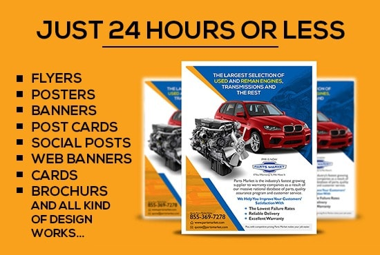 I will design flyers,  web banner,  social posts just 24 hours or less