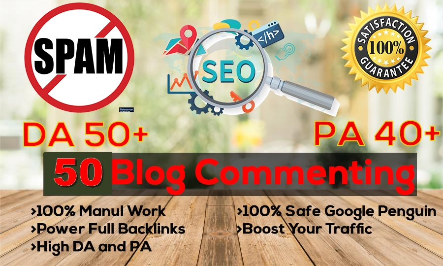 Create Manual 20 Dofollow blog commenting Backlinks DA40 to DA90