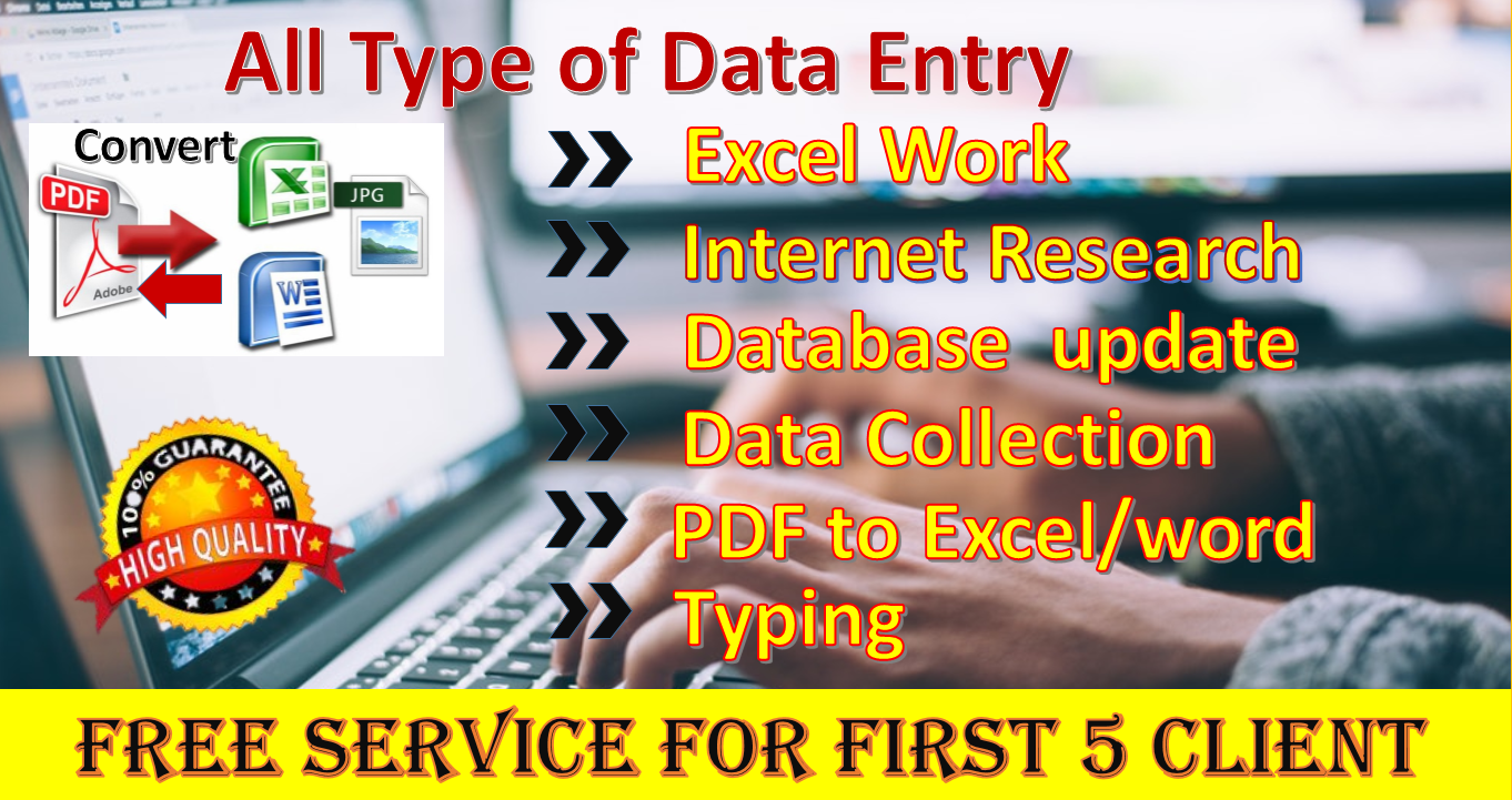 I will do Virtual assistant job for Data Entry, PDF Converter, Data Collection etc.
