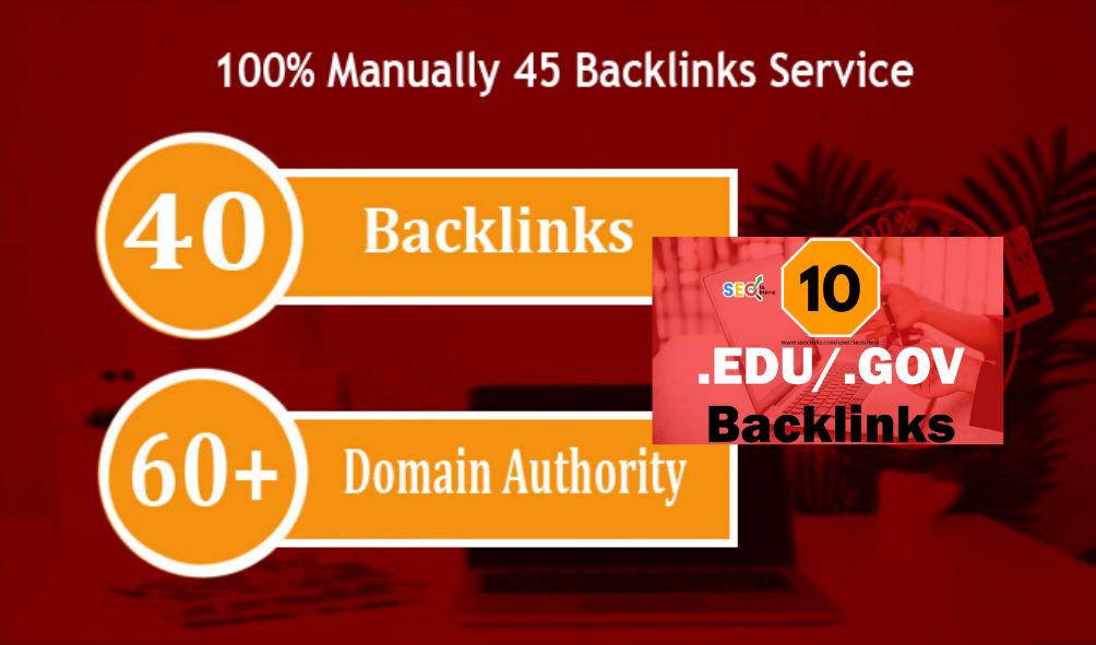 I Will Manually Do 45 High DA / PA Backlink With 10 EDU/GOV High Pr Backlinks 2020 Best Ranking