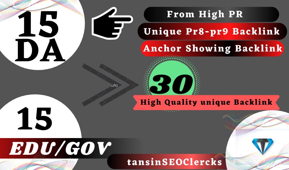 Manually Create 15 DA Backlink + 15 EDU/GOV For Rank Your Site On Google Top page