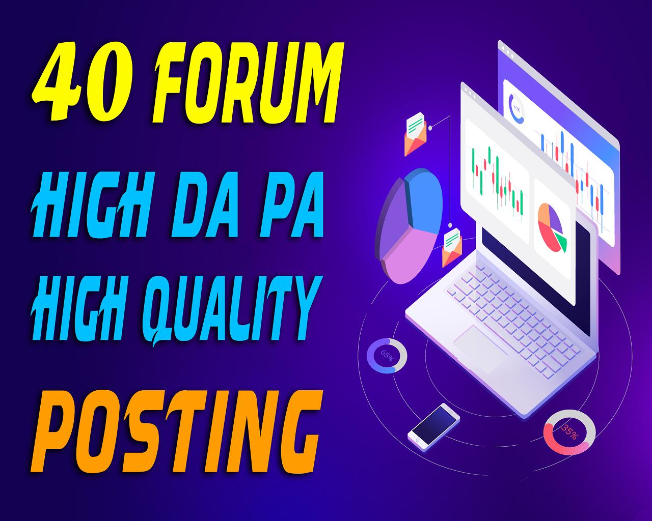 Manually Do 40 High Quality Forum Posting SEO Backlinks