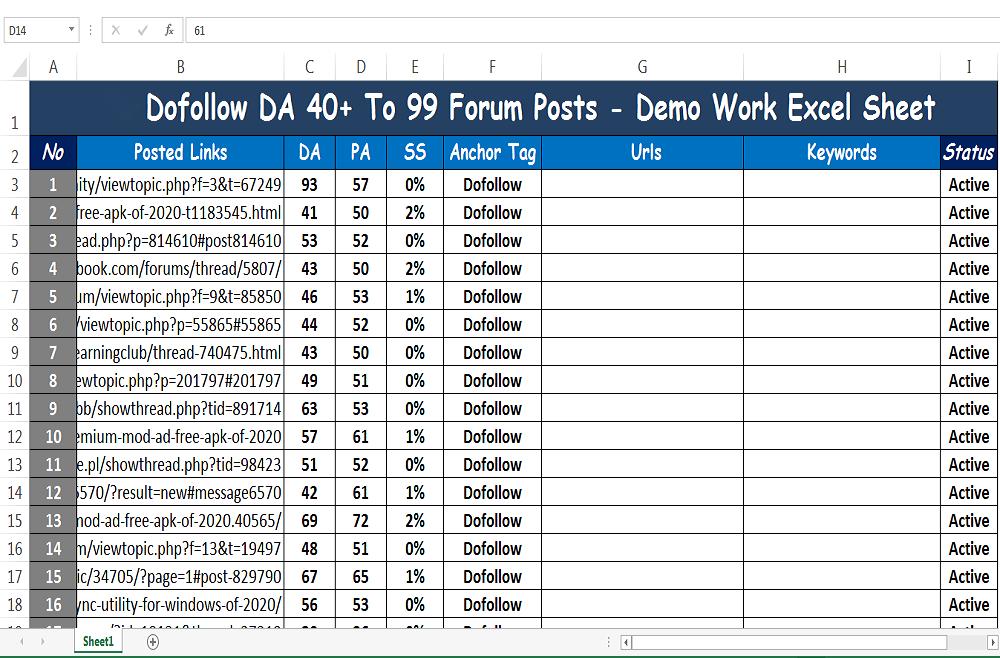 100 Dofollow DA 97 to 40 Forums Posting SEO Posts Backlinks