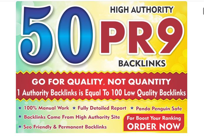 High Quality top ranker 50 pr9 Backlinks