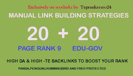 l will do create manually 20 pr9 + 20 edu/gov SEO high quality backlinks service