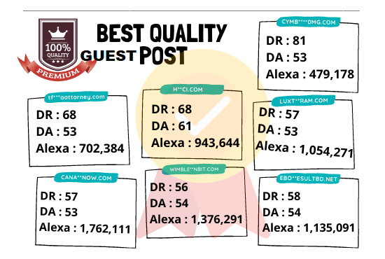 DA 50+ granted 10 guest post from 10 real sites