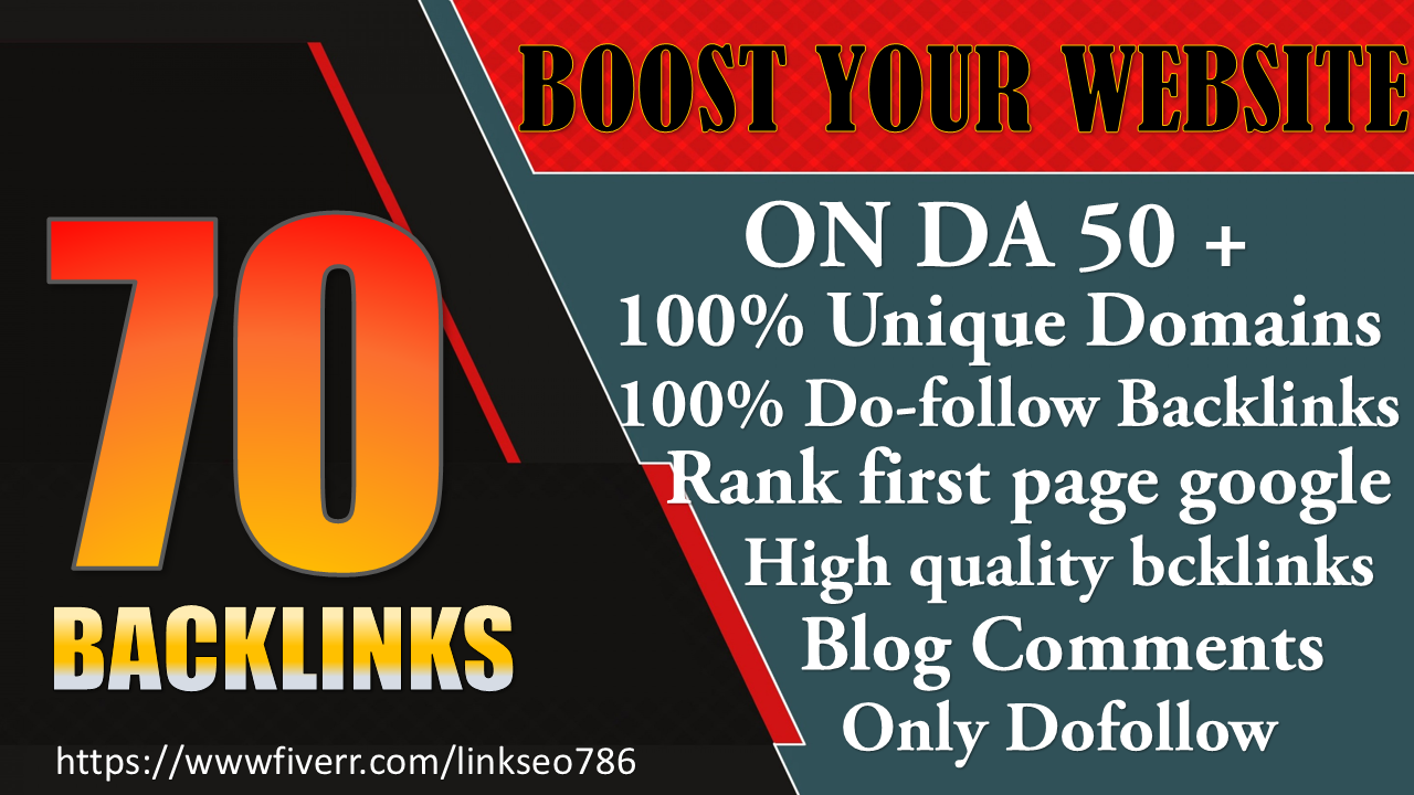 I will do 70 uinque domain dofollow blog comments with da 50 plus