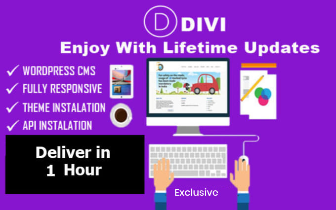 I will install divi theme lifetime access elegant live update