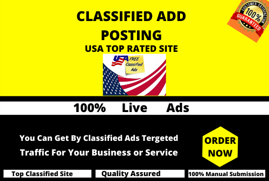 I will post classified ads on high pr ads sites in USA