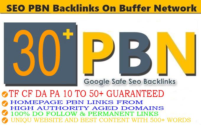 Build 30+ High Permanent PA DA TF CF HomePage PBN Backlinks Do follow Quality Links