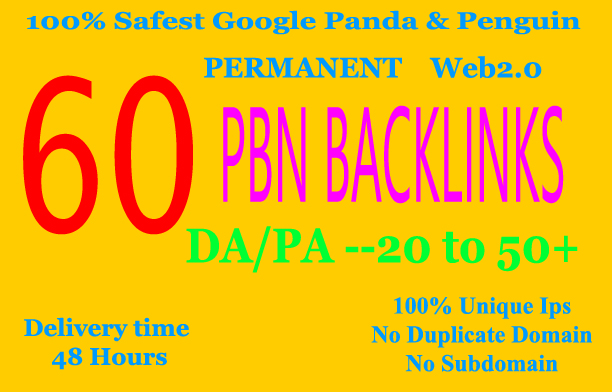 Build 60+ Backlink,web 2.0 and Dofollow with high DA/PA in your webpage with unique website