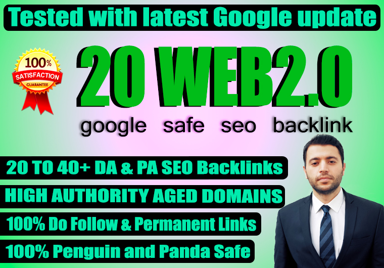 Build 20 web2.0 Backlink with high DA, PA,  DOFOLLOW with Unique articles