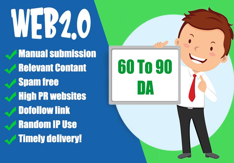 I will build 50 contextual web2.0 high quality seo dofollow manual backlinks