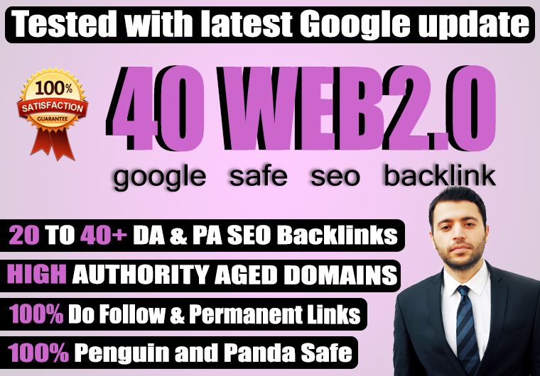 LIMITED TIME OFFER 40 High Quality all Dofollow high DA PA TF CF web2.0 Backlinks