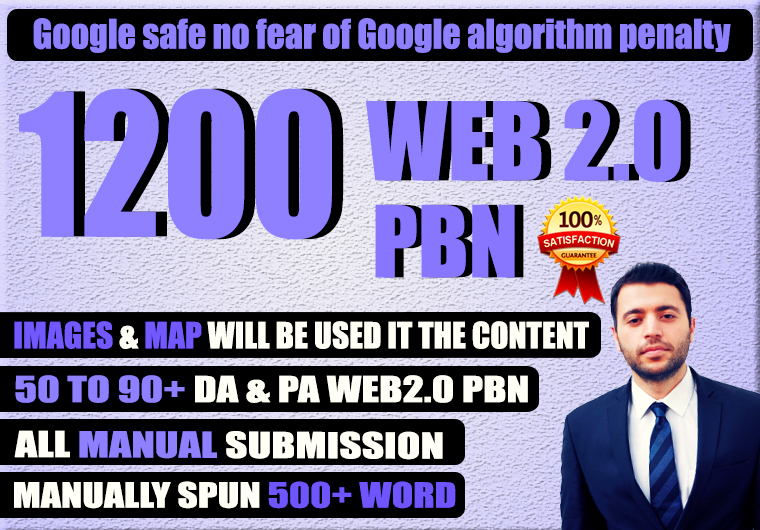 Build 1200 Permanent web2.0 PBN Backlink with High TF,  CF,  DA,  PA with unique website