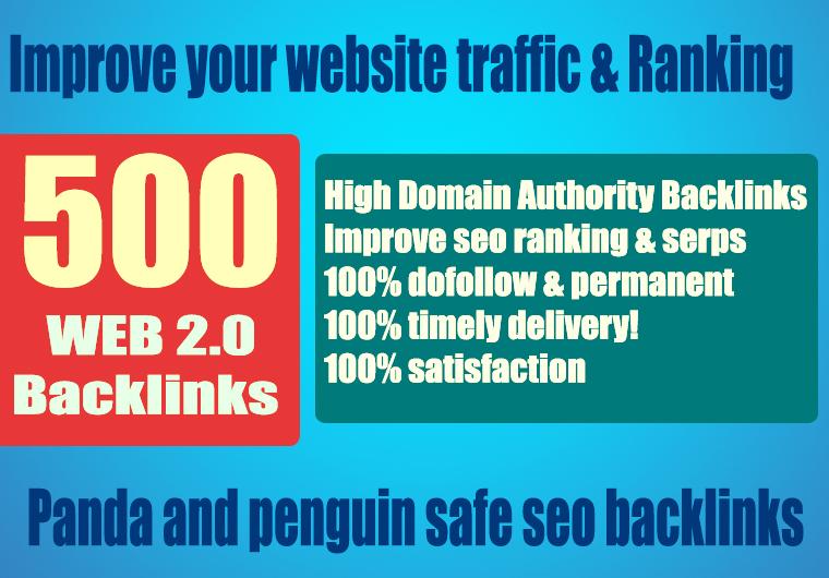 Premium 500+ WEB 2.0 Backlink with Permanent Dofollow & High DA PA TF CF