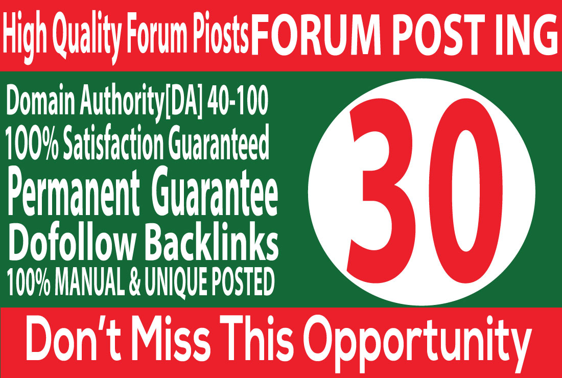 I Will Create 30 forum posting backlinks on High DA 30+
