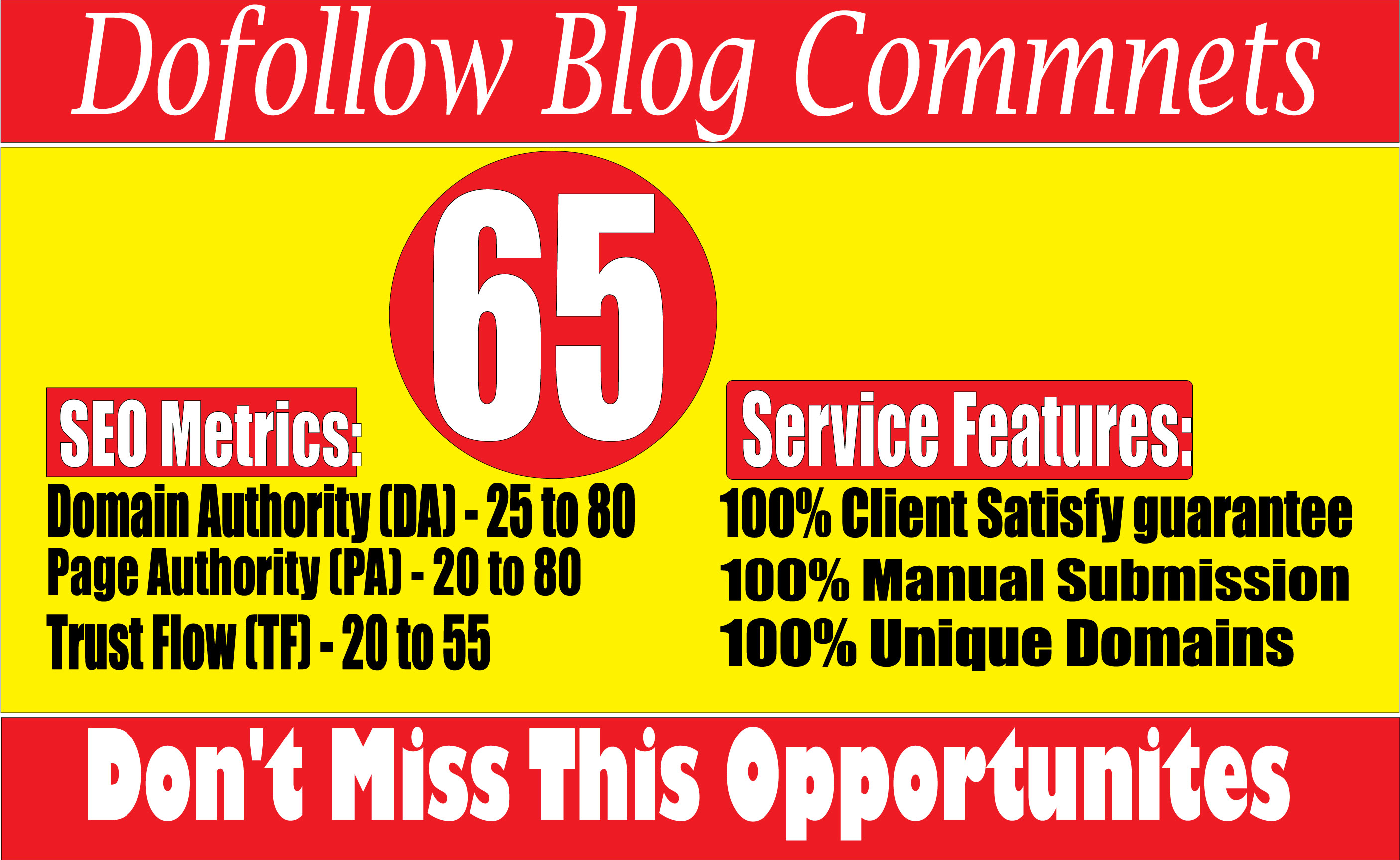 I will create 65 High Quality Dofollow Blog Comments