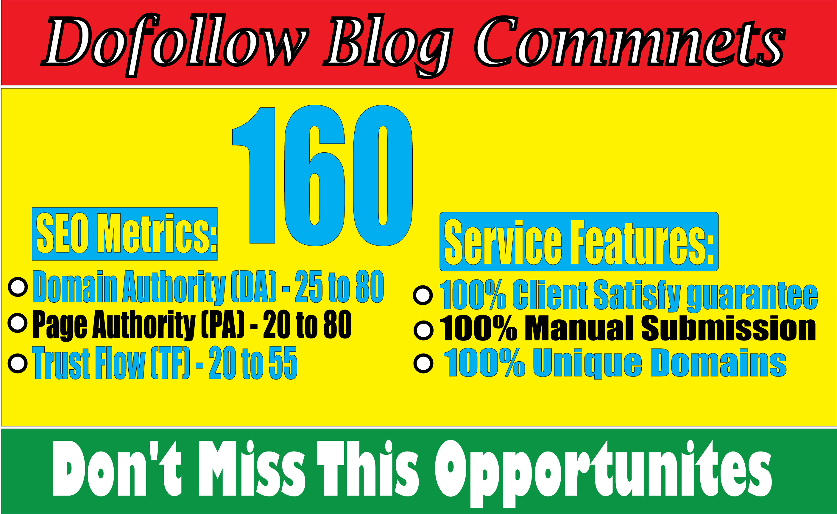 I will create 160 High Quality Dofollow Blog Comments