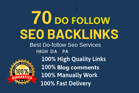 GET 70 Dofollow Backlinks with high Quality and Buy 3 get 1 free