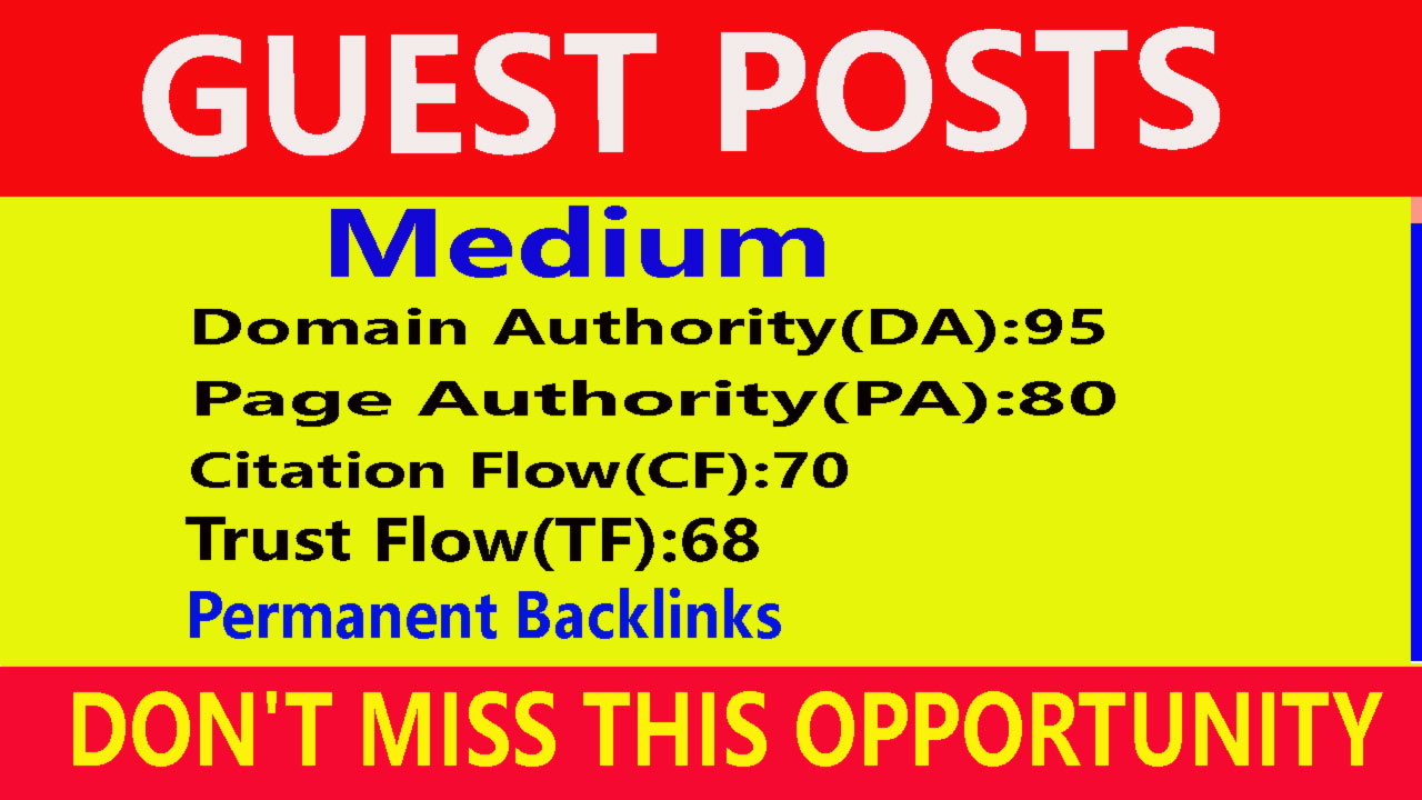 I will Write And Publish A Guest Post On Medium DA 95, PA 80