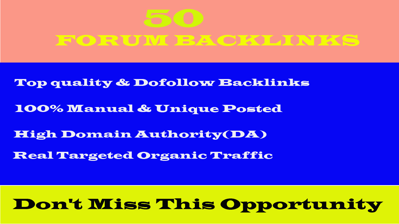 I will provide you with high quality DA30+ PA25+ forum posting backlinks.
