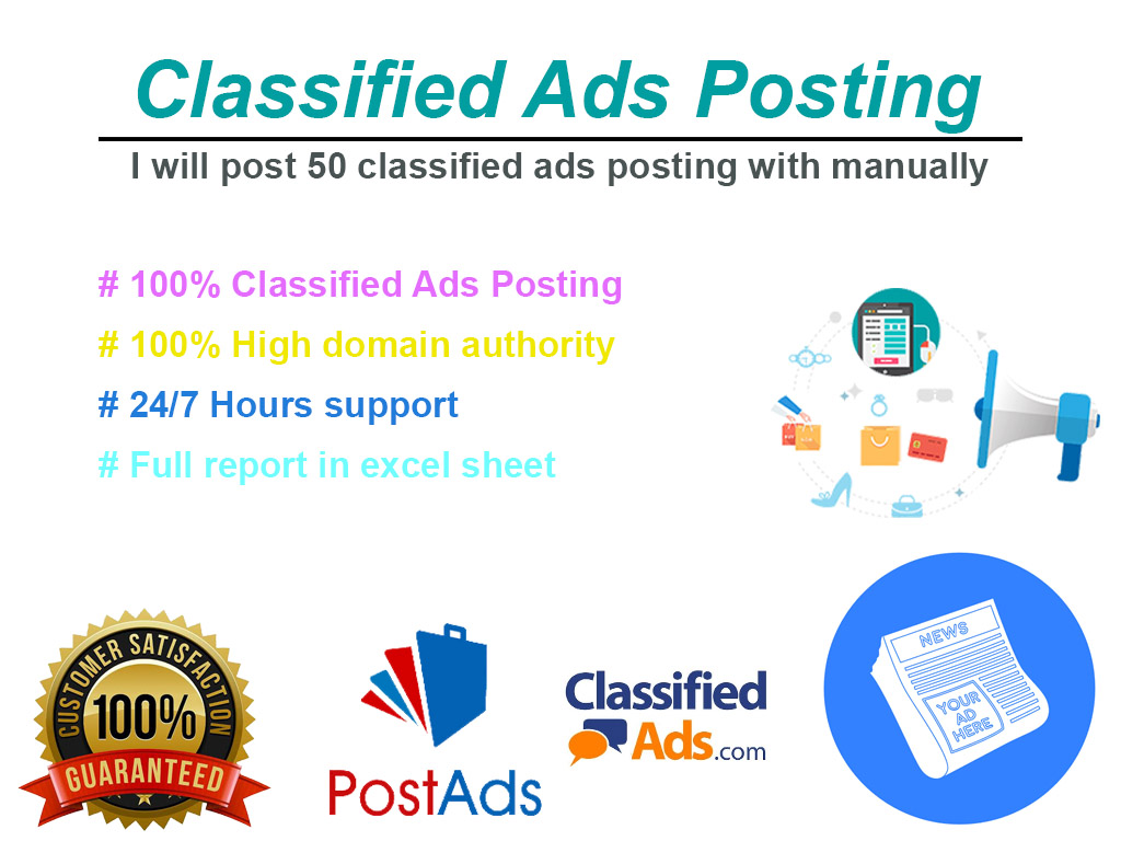 50 Classified ads posting with manually