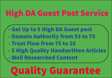 Write and publish 5 high DA guest post seo backlinks