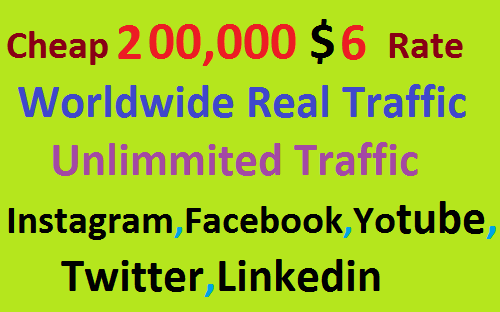 Real 200,000 Website Worldwide Traffic Visitors Instagram,Facebook,YouTube,Twitter,Linkedin