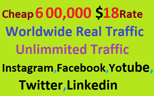 Real 600,000 Website Worldwide Traffic Visitors Instagram, Facebook, YouTube, Twitter, Linkedin