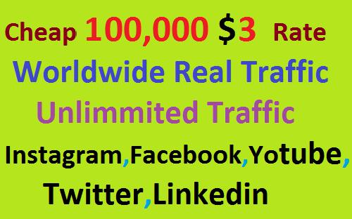 Real 100,000 Website Worldwide Traffic Visitors Instagram, Facebook, YouTube, Twitter, Linkedin