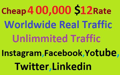 Real 400,000 Website Worldwide Traffic Visitors Instagram,Facebook,YouTube,Twitter,Linkedin