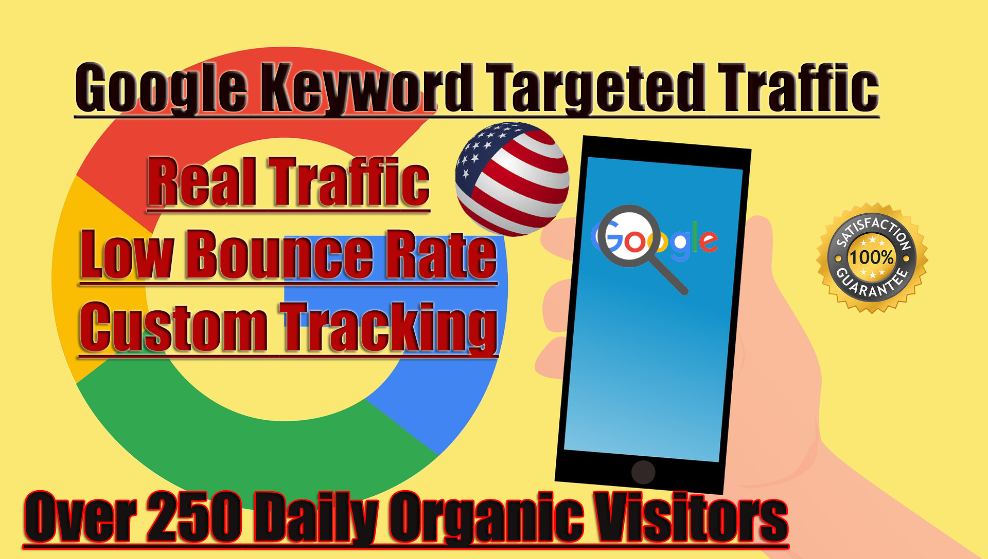 We will send 30 days unlimited USA website traffic from Google,  Bing and yahoo