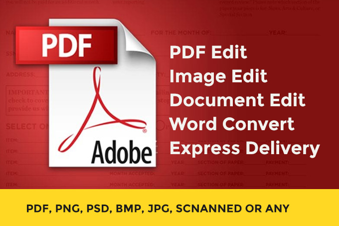 I will do pdf edit document edit scan image edit