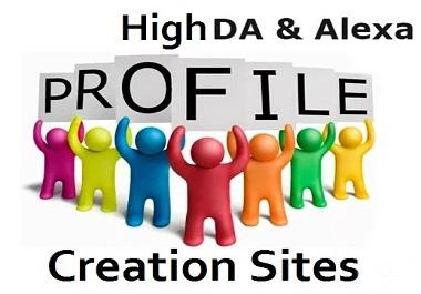 I will create 50 social profile creation high DA PA site