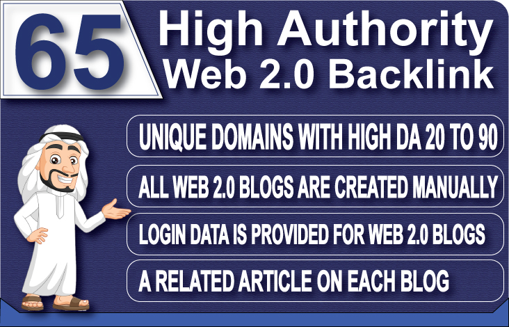 I will boost your ranking with 65 super web 2 0 seo backlinks