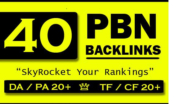 40 High quality PBN Backlinks with High PA 20+ DA TF CF 20+