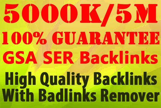 I will do 5 Million high quality gsa, backlinl, dofollow for you