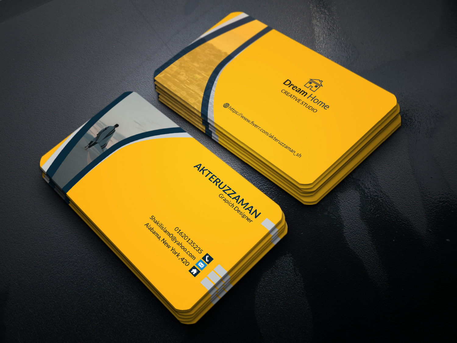 do professional 1 business card design in just