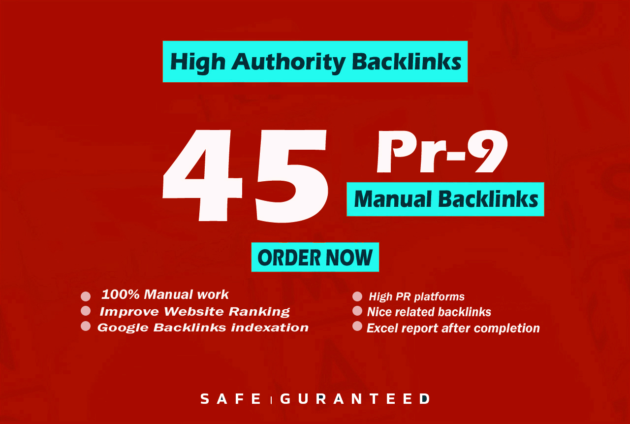create top quality provide 45 pr9 seo backlinks