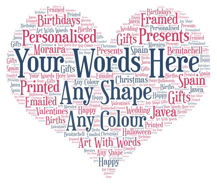 Word Cloud I will put your words into shapes.