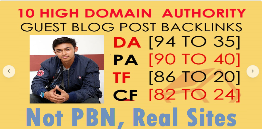 Write and Publish 10X Not PBN,  Real Sites High Authority Guest Post DA 100-40