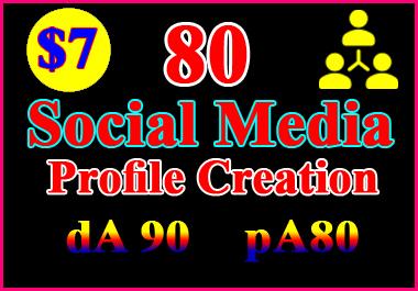 I will setup 80 social profiles or profile creations high DA, PA backlinks.