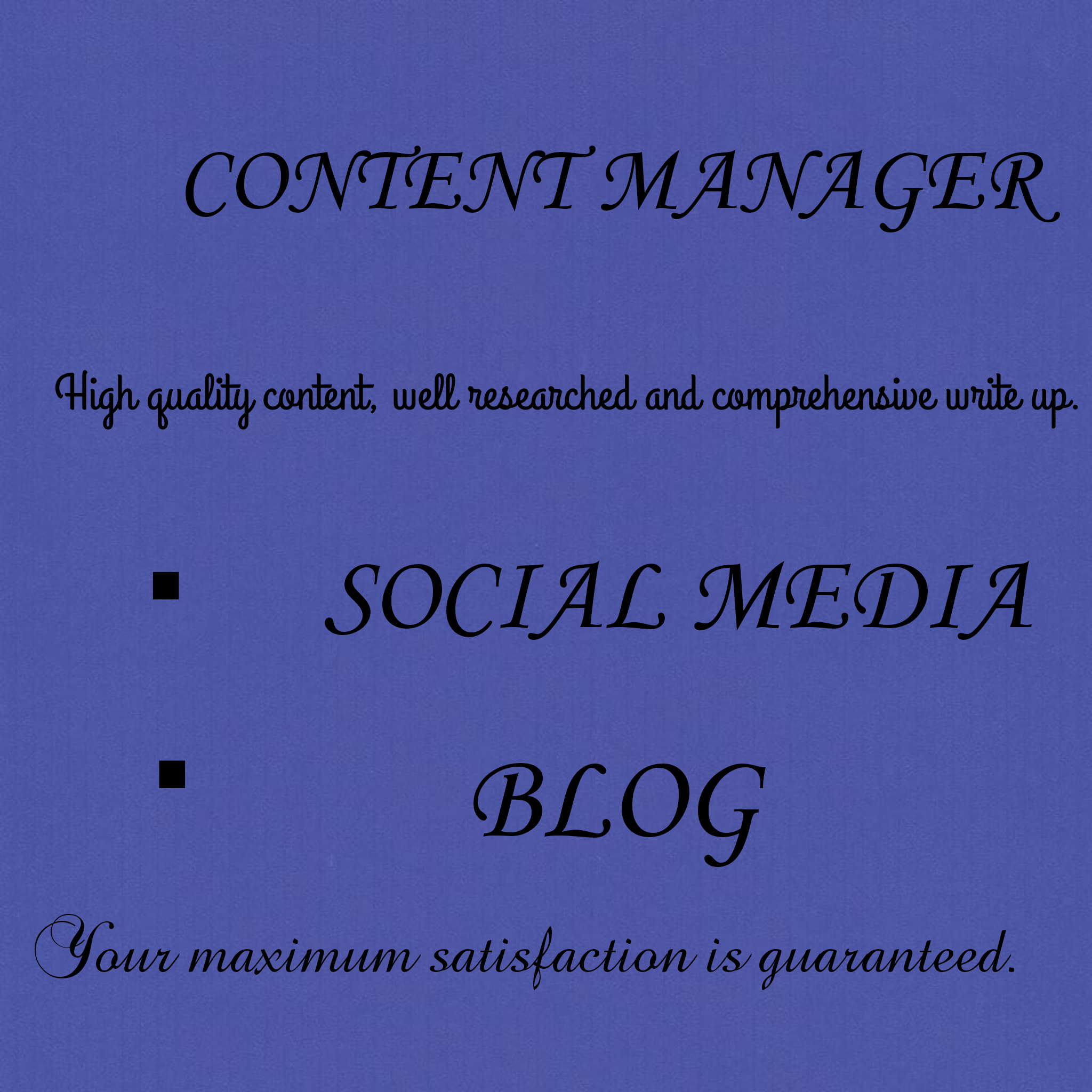 I will be your professional social media content manager