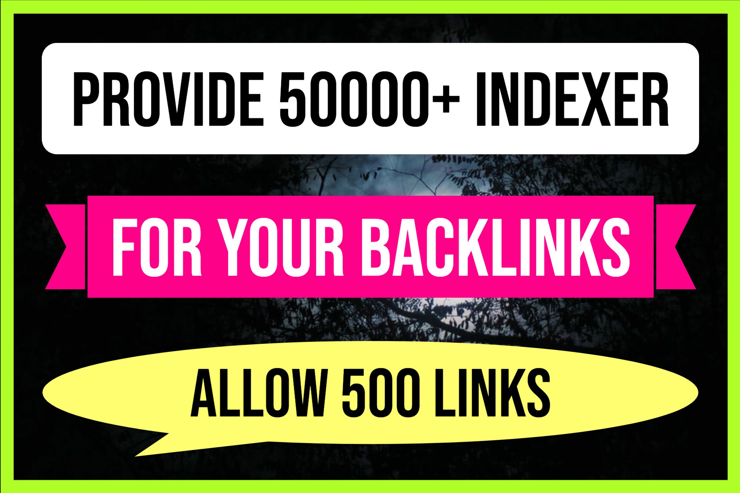 Index Your Backlinks Though 50k Websites