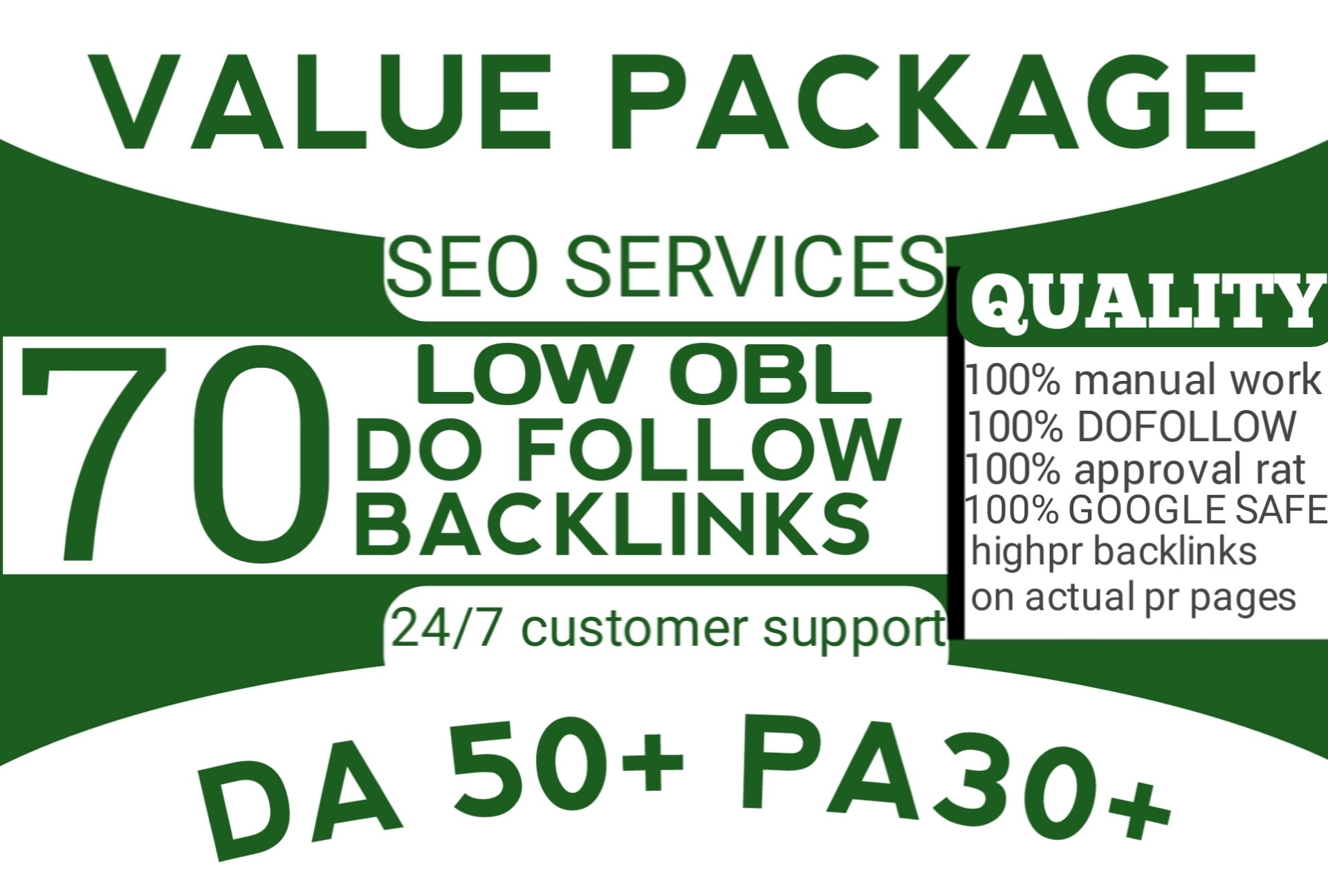 will provide 70 links of DA 50+ with unique domains and low obl