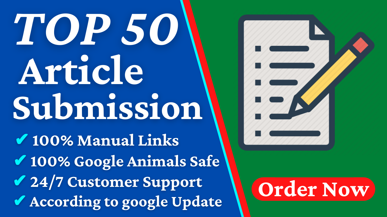 I will 50 SEO Dofollow Contextual Article Submission With High Quality DA PA Backlinks