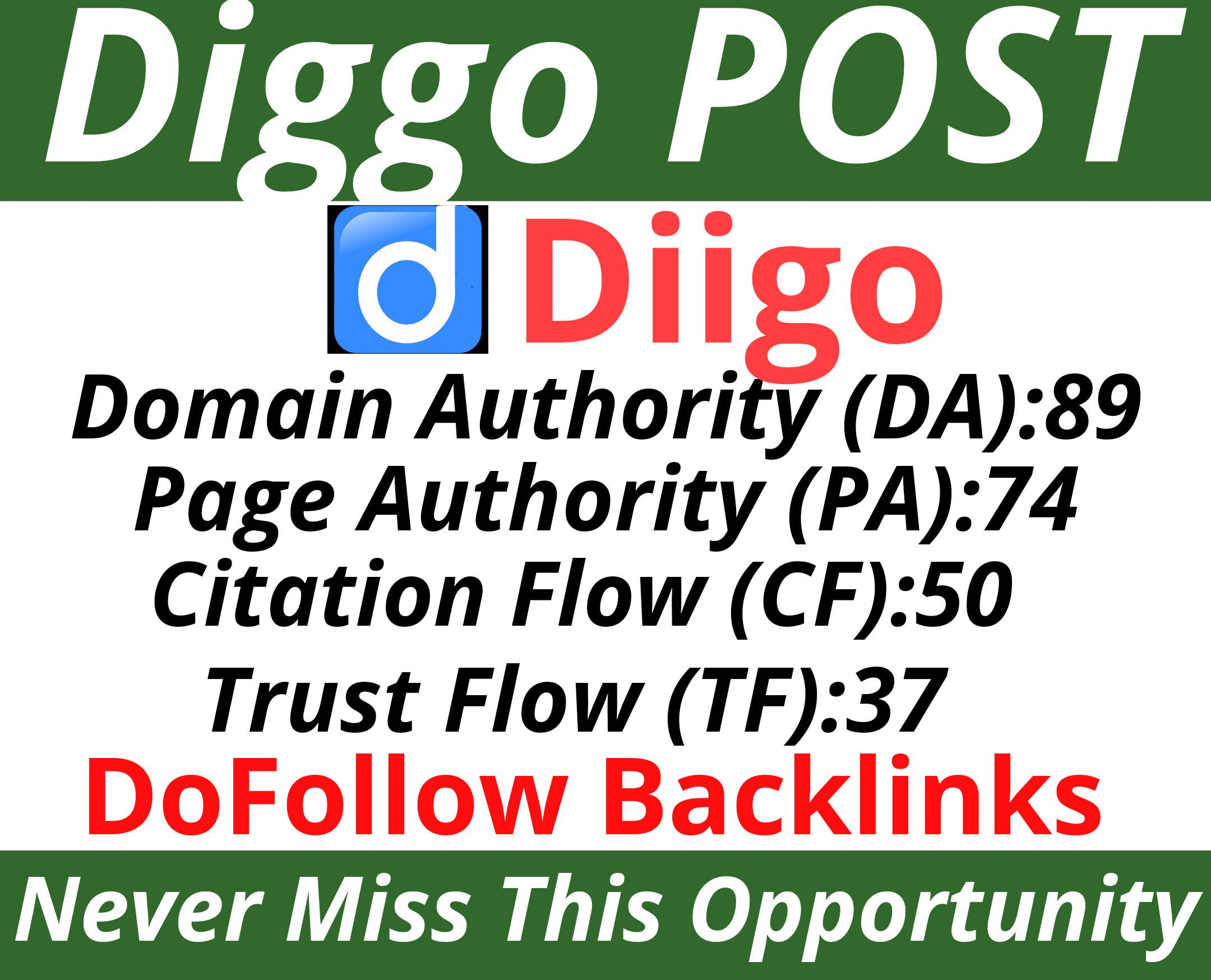 Write and Publish a Post on Diigo .com with Your Website link DA89 PA74