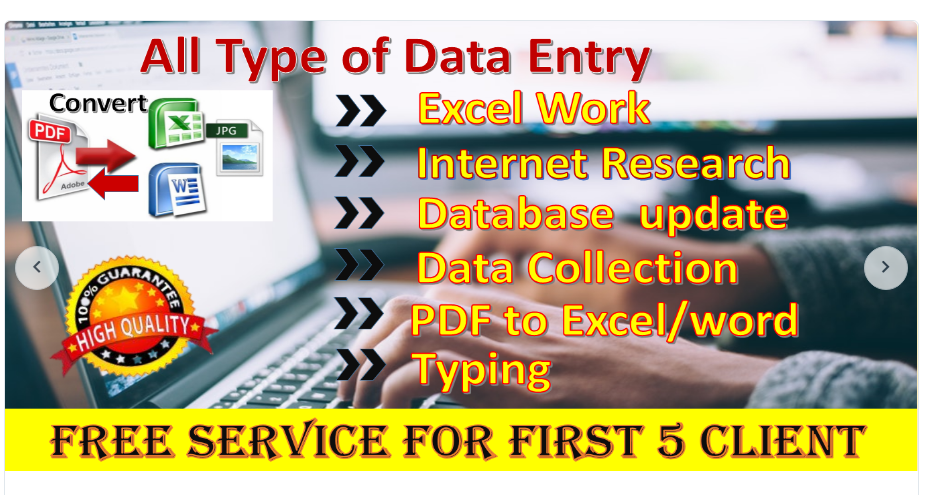 Data Entry, Typing, Proof Reading