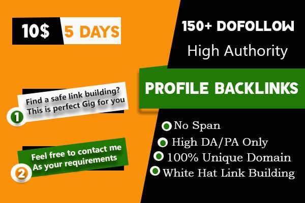 I will do manual 150 high da dofollow profile backlinks